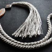 Лаконичная подвеска кисть в стиле бохо из натурального льна