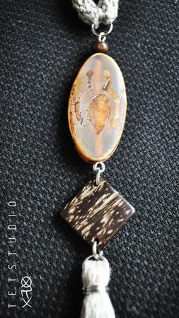 Лаконичная подвеска кисть в стиле бохо из натурального льна ручной работы на заказ