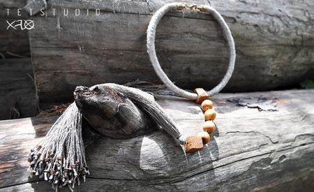 Натуральное Эко-колье с кистью в бохо стиле ручной работы на заказ