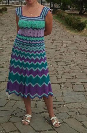 Платье узором зигзаг ручной работы на заказ