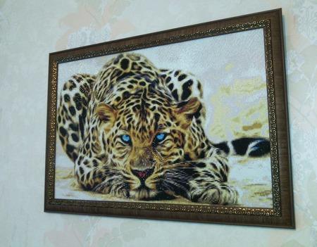 "Алмазная картина ""Леопард"" ручной работы на заказ"