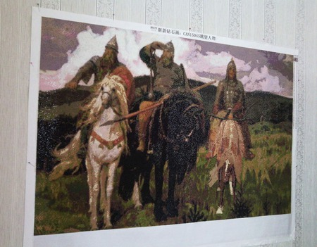 "Алмазная картина ""Три богатыря"" ручной работы на заказ"