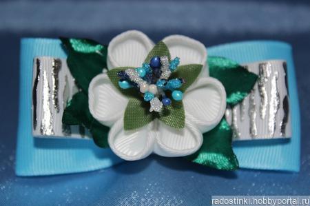 Бант из репсовой ленты с цветком (за пару) ручной работы на заказ