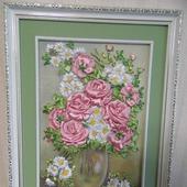 """Картина """"Розы и ромашки"""""""