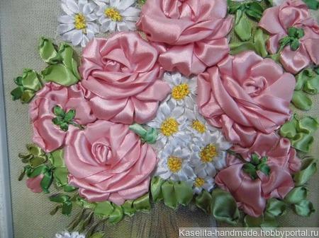 """Картина """"Розы и ромашки"""" ручной работы на заказ"""