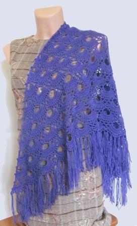Мини-шаль вязаная Веер темно-сиреневый ручной работы на заказ