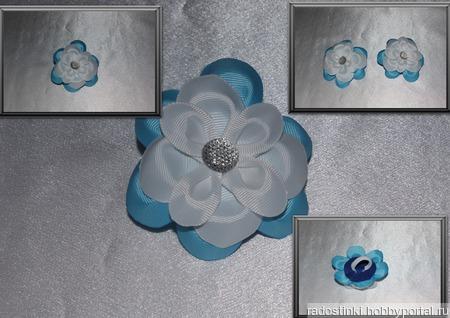 Цветок из репсовой ленты (цена за пару) ручной работы на заказ