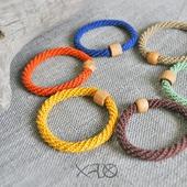 Льняные браслеты в осенней гамме