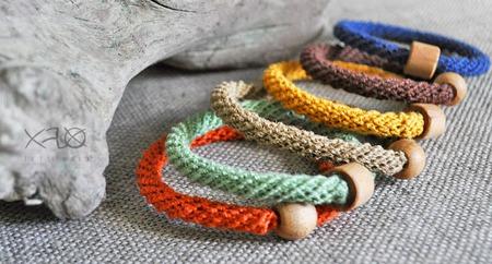Льняные браслеты в осенней гамме ручной работы на заказ