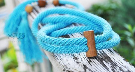 Декоративный поясок из бирюзового натурального льна ручной работы на заказ