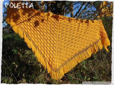 Жёлтая шаль.Шаль вязаная крючком ручной работы на заказ