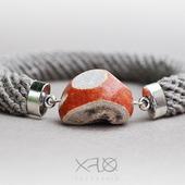 Браслет льняной с полудрагоценным камнем (унисекс)