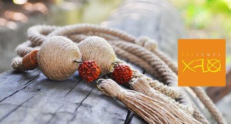 Декоративный поясок с деревянными бусинами ручной работы на заказ