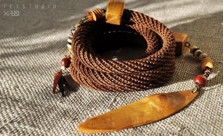 Этнический эко-лариат в стиле бохо ручной работы на заказ