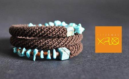 Бохо браслет с натуральными камнями из бирюзы ручной работы на заказ