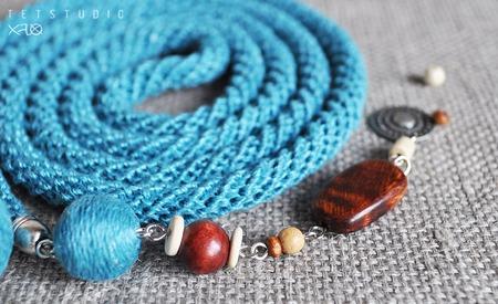 Бирюзовый эко-лариат изо льна в стиле бохо ручной работы на заказ
