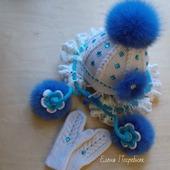Комплект для девочки (шапочка, шарфик, варежки)