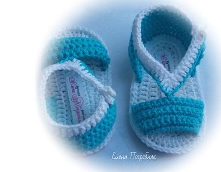 Пинетки сандали крючком  для новорожденного ручной работы на заказ