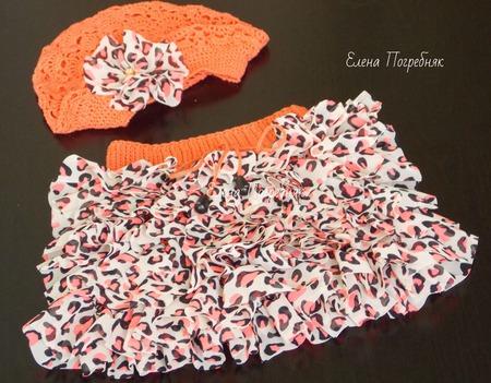 Комплект вязаный, для девочки (юбочка и берет) ручной работы на заказ