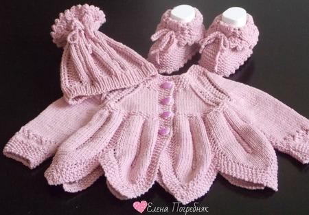 """Комплект вязаный для новорождённого """"Пыльная роза"""" ручной работы на заказ"""