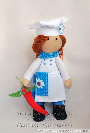 "Текстильная кукла ""Повар"" ручной работы на заказ"