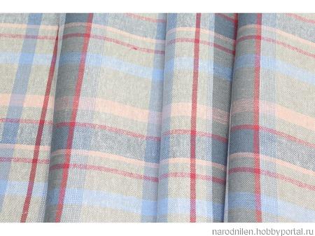 Ткань костюмная в клетку розово-голубая ручной работы на заказ