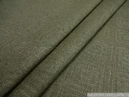 Ткань льняная жаккардовая (тёмно-сливковая) ручной работы на заказ
