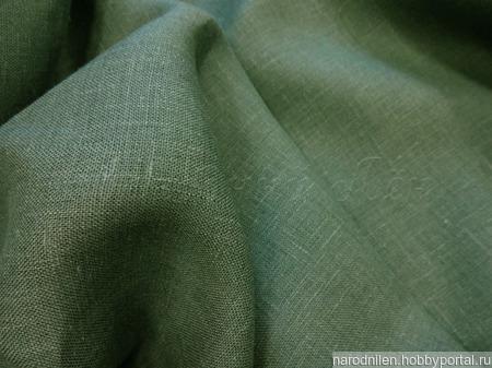 Ткань льняная тёмно-зелёная ручной работы на заказ