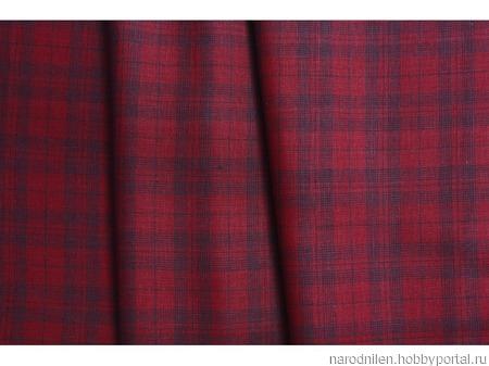 Ткань льняная костюмная в сетку ручной работы на заказ