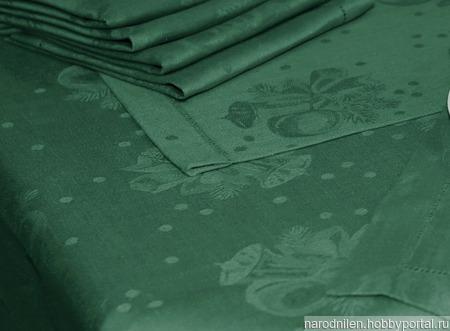 "Ткань льняная ""Новогодняя"" зелёная ручной работы на заказ"