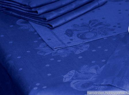 """Ткань льняная """"Новогодняя"""" синяя ручной работы на заказ"""