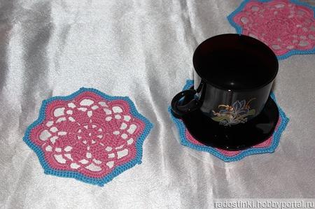 """Набор салфеток под горячее """"Розовое чудо"""" ручной работы на заказ"""