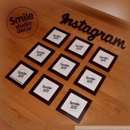Композиция из фоторамок Instagram ручной работы на заказ