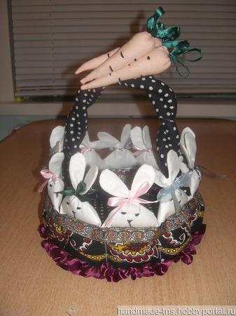 """Текстильная пасхальная корзинка """"Крольчата"""" ручной работы на заказ"""