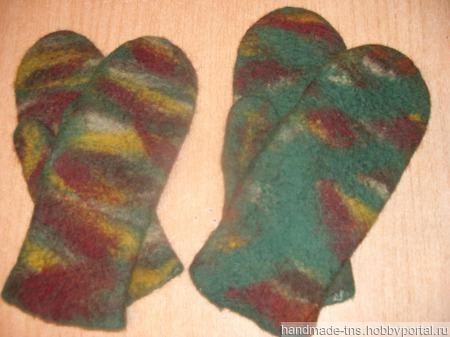 """Мужские рукавички из войлока """"Камуфляж"""" ручной работы на заказ"""