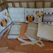 Бортики подушки в кроватку Совушки