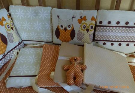 Бортики подушки в кроватку Совушки ручной работы на заказ