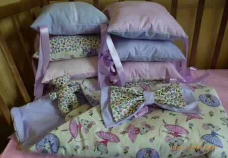 Бортики подушки в кроватку Мышки балерины ручной работы на заказ