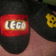 """Тапочки мужские, подростковые """"Фанату LEGO"""" ручной работы на заказ"""