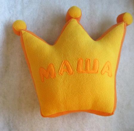 Подушка корона с именем ручной работы на заказ