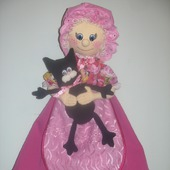 """Интерьерная кукла-пакетница """"Бабуля с котиком"""""""