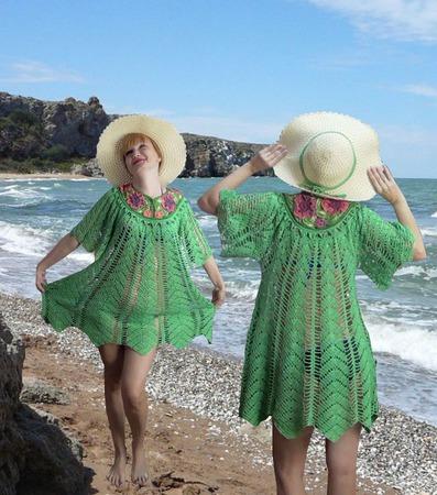 """Вязаное платье """"Королева пляжа"""" ручной работы на заказ"""