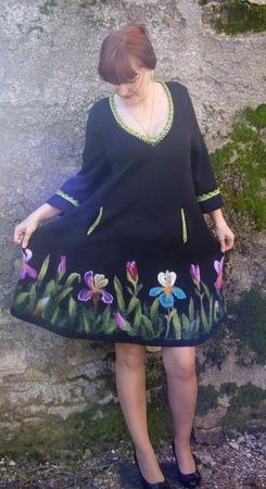 """Платье вязаное """"Желанный ирис"""" ручной работы на заказ"""