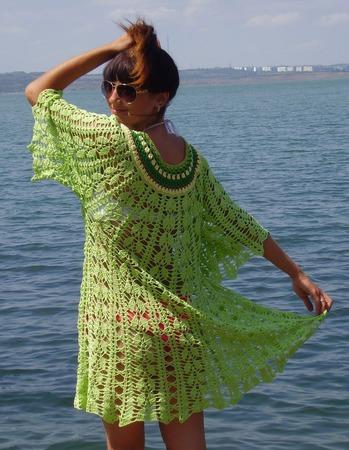"""Вязаное пляжное платье """"Море счастья"""" ручной работы на заказ"""