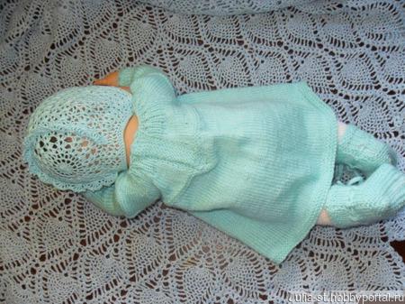 Комплект для новорожденной Розы на льду ручной работы на заказ