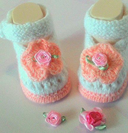"""Пинетки-туфельки """"Розовые розы"""" ручной работы на заказ"""