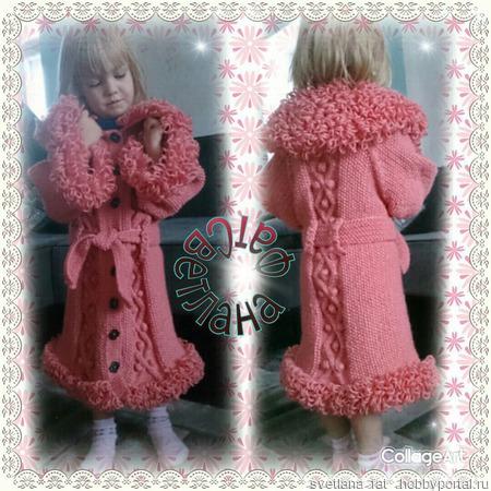 Вязаное пальто для девочки ручной работы на заказ