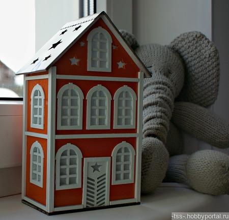 Ночник-домик малый звездный ручной работы на заказ