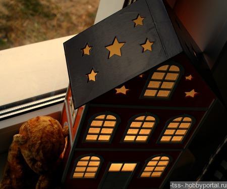 Ночник-домик большой звездный ручной работы на заказ