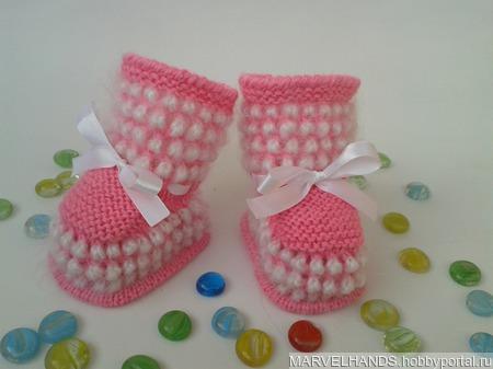 Пинетки ярко-розовые ручной работы на заказ